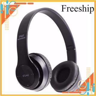 [Freeship Max] Tai nghe chụp tai cao cấp có khe thẻ nhớ Bluetooth P47 (Đen) 1000002734 có dây aux kết nối điện thoại máy tính laptop thumbnail