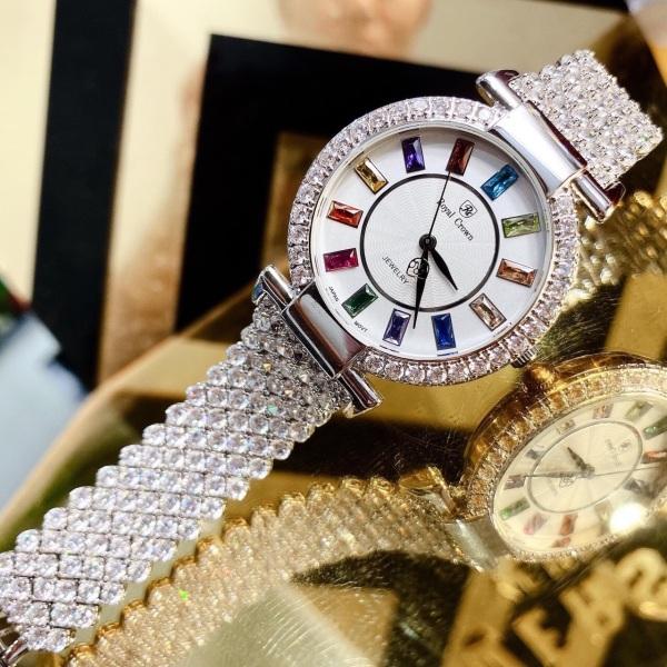 Đồng hồ nữ Royal Crown đính đá mặt tròn 3 kim sành điệu C11 bán chạy