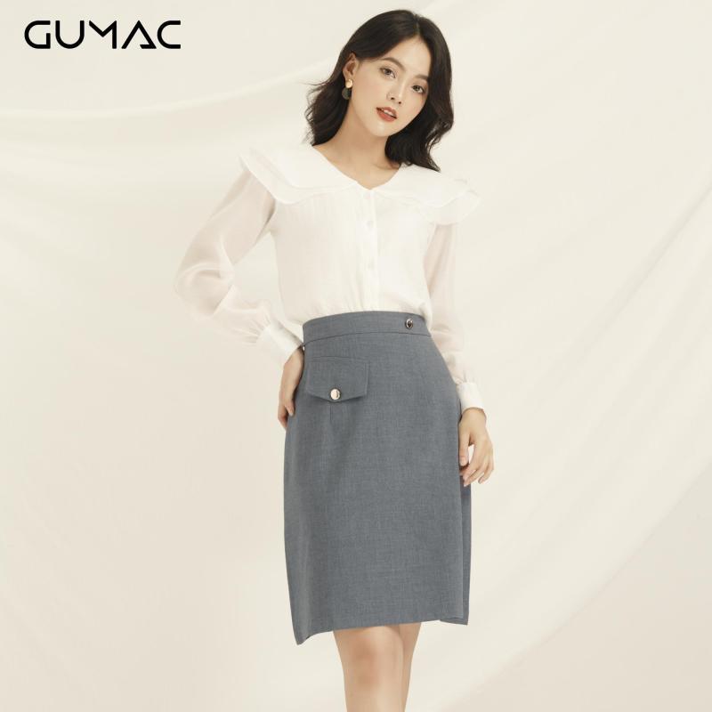 ( Giảm thêm 10%)Chân váy nữ GUMAC thiết kế kiểu  phối nắp túi VA835