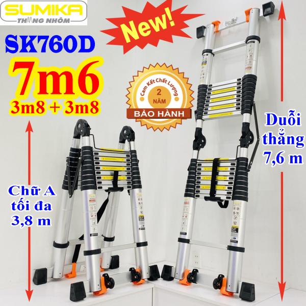 Thang nhôm rút chữ A 3,8m duỗi thẳng 7,6m SK760D