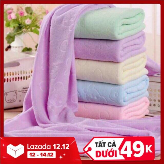 [HCM]Khăn tắm cho trẻ sơ sinh trẻ nhỏ xuất dưmềm mịn phù hợp da em bé kích thước 140cm x 70cm ( giao nhiều màu khác nhau)