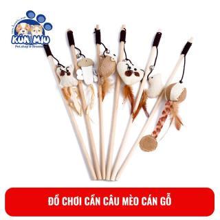 Đồ chơi Cần câu mèo cán gỗ hình cá, chim, chuột Kún Miu thumbnail