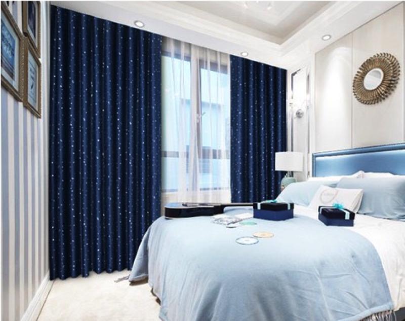 Rèm cửa sổ, cửa phòng ngủ chống nắng giá rẻ, hoạ tiết sao đêm, xanh Navy 180x200cm TNS-019