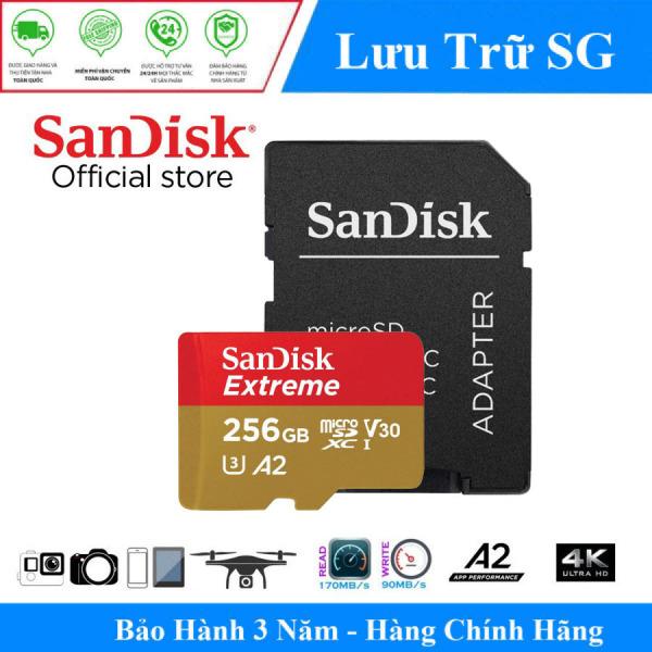 [Model Mới] Thẻ Nhớ MicroSDXC SanDisk Extreme 256GB V30 U3 4K A2 R160MB/s W90MB/s - Hãng Phân Phối Chính Thức