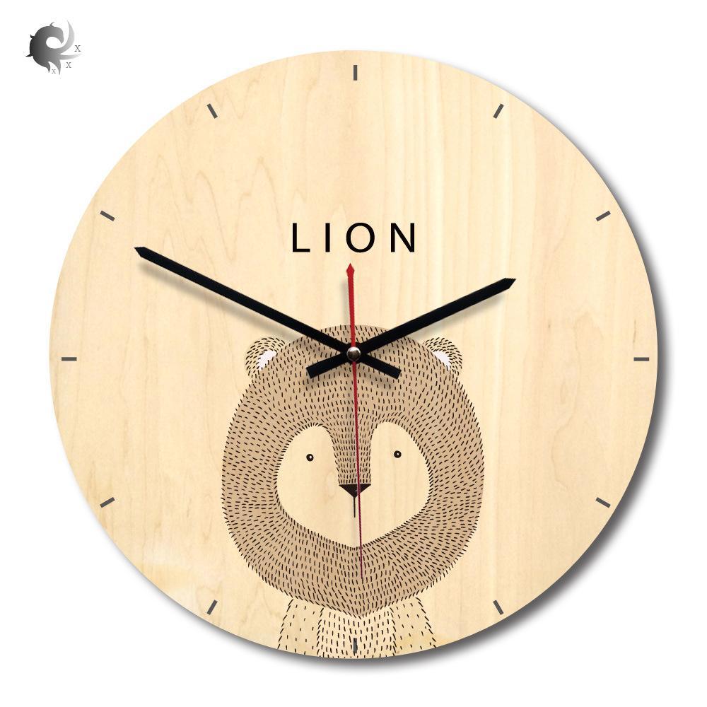 (1 cái) đồng hồ treo tường bằng gỗ hình thú, phong cách châu Âu, phòng khách, khúc gỗ, đồng hồ treo tường in, đồng hồ sáng tạo, chất liệu acrylic cao cấp (28 * 28CM) bán chạy