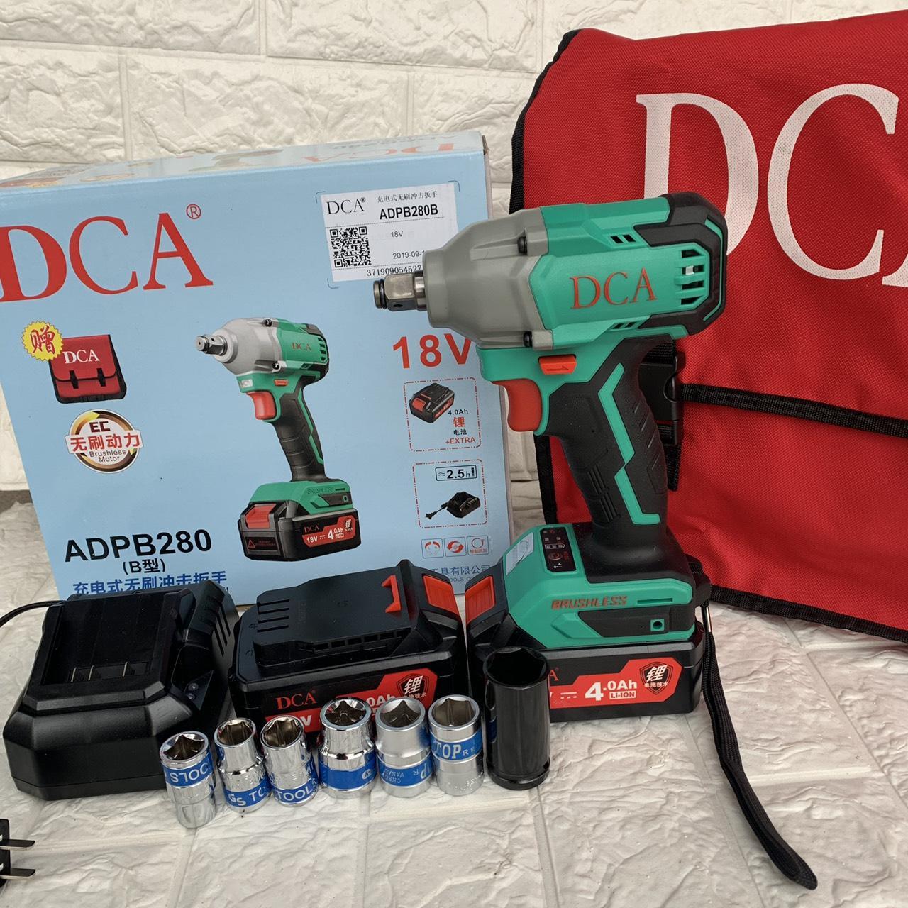 Máy Siết Bulong Pin DCA [ FULL BOX + BH 6 Tháng ] - Tặng 2 pin, 7 đầu khẩu, 1 đầu chuyển vít - không chổi than