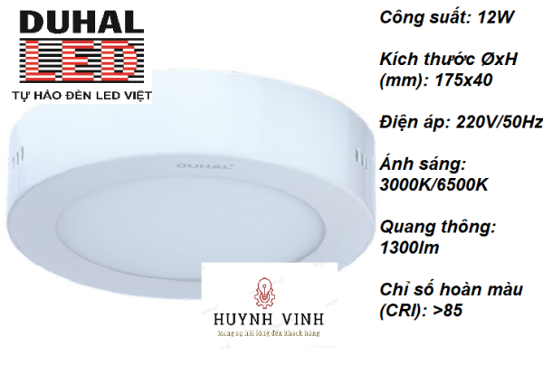 ĐÈN LED PANEL TRÒN NỔI DUHAL 12W (KDGC512)