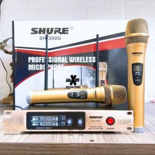 (Combo 2 micro) Micro không dây Shure SH 300G, Bộ 2 Micro Cao Cấp Siêu hay, thiết kế Volume contronl riêng biệt, Micro không dây đa năng Shure SH-300G hút âm mạnh giá rẻ, BH 12 THÁNG thumbnail
