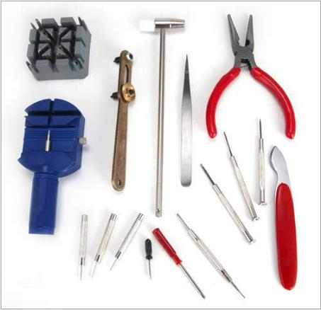 Nơi bán Bộ dụng cụ sửa chữa đồng hồ,cắt mắt đồng hồ, thay dây đồng hồ, bộ phụ kiện 16 chi tiết