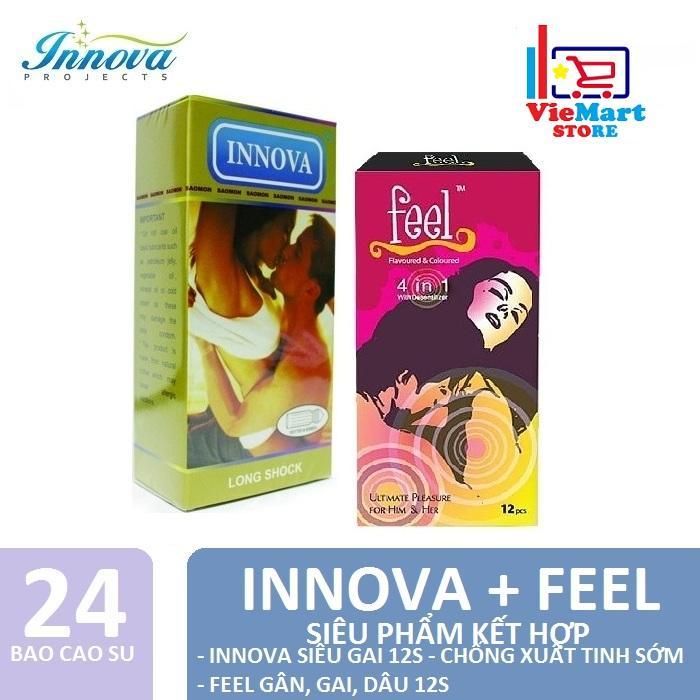 Bộ 2 GẮN KẾT ( Bao cao su Innova 12s - Vàng Gân và gai + Bao cao su Feel 4in1 12s ) - Hãng phân phối chính thức