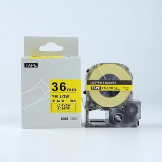 Tape nhãn in SC36YW (LC-7YBW) tương thích máy in nhãn KingJim SR & EPSON LW - Nhãn in chữ đen nền vàng 36mm thumbnail