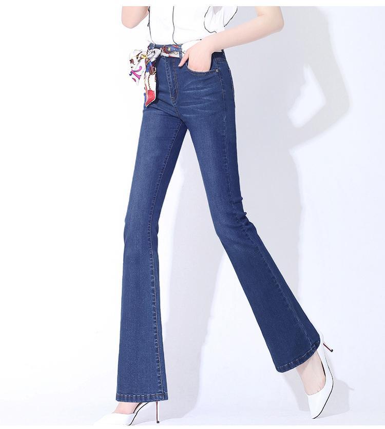 Quần jean nữ ống loe ba màu vải mềm mại co giãn tốt hàng cao cấp
