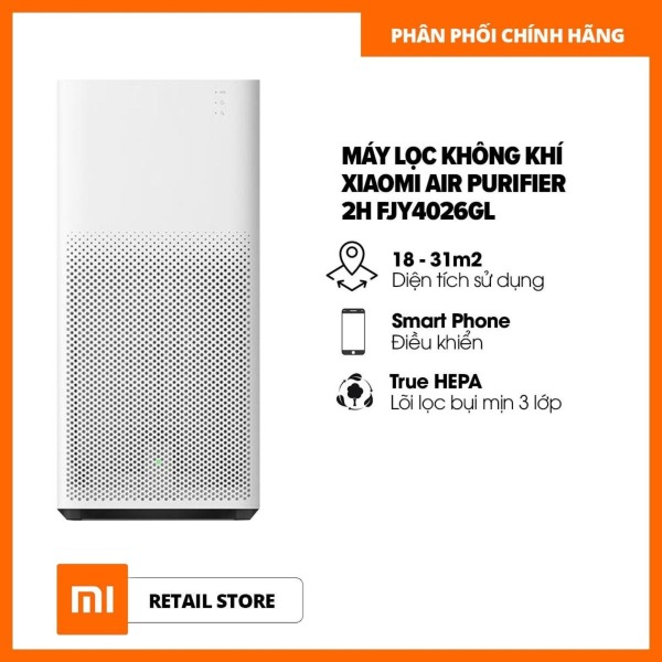 Máy lọc không khí Xiaomi Air Purifier 2H FJY4026GL - Phiên bản quốc tế - Điều khiển bằng ứng dụng & Thông báo khi cần thay bộ lọc & Giám sát chất lượng không khí - Bộ lọc HEPA lọc được bụi mịn - Hàng phân phối chính hãng