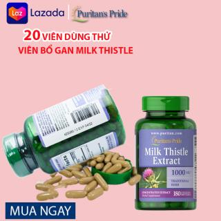 ( TÁCH LẺ ) 20 Viên Viên uống bổ gan thải độc gan tốt hơn trà cà gai leo, giải độc gan tuệ linh Milk Thistle Extract 1000mg Puritan s Pride ( 20 viên dùng thử ) thumbnail