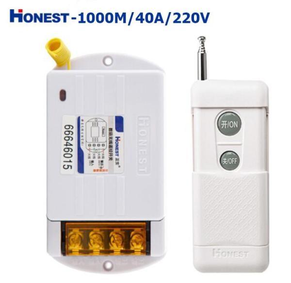 Bộ công tắc điều khiển tắt mở thiết bị điện từ xa công suất lớn Honest HT-6220KG-1 khoảng cách 1KM (40A-220V)