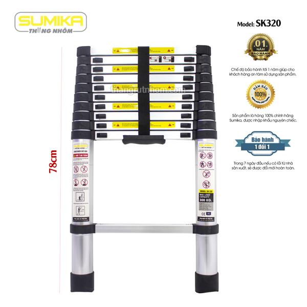 Thang rút nhôm Sumika SK320 (Màu đen, Cao 3.2m)