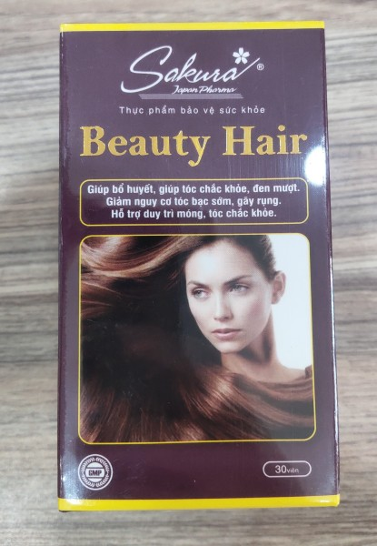 (Hộp 30 viên) Viên uống giúp tóc chắc khỏe, đen mượt, giảm gãy rụng SAKURA BEAUTY HAIR
