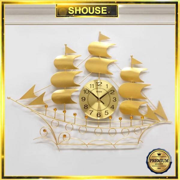 Nơi bán Đồng Hồ Treo Tường Trang Trí Thuyền Buồm Vàng Kim Trôi Quartz Shouse B68 Nghệ Thuật Cao Cấp hiện đại 3D kích cỡ lớn đẹp treo phòng khách