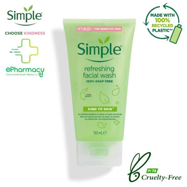 Simple Sữa Rửa Mặt Refreshing Facial Wash - Sữa rửa mặt Simple cho da nhạy cảm 150ml cao cấp