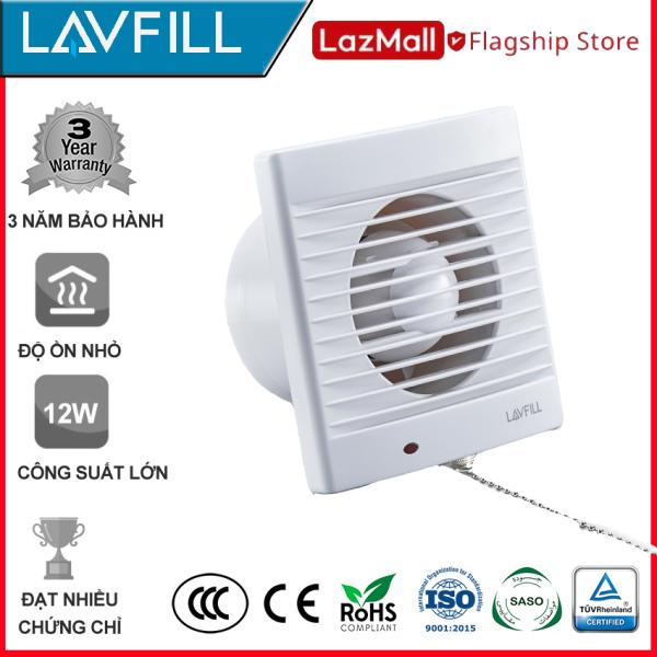 Quạt thông gió 1 chiều 150x150mm, Quạt hút âm tường nhà tắm, phòng vệ sinh, không ồn hãng LAVFILL LFWW-09EK