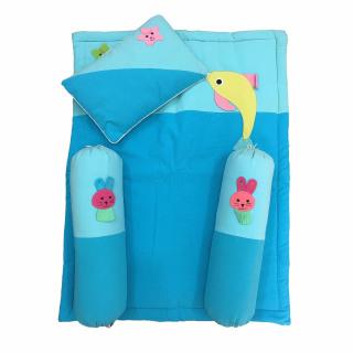 Bộ nệm gối 4 món dành cho bé trai và gái từ 1- 24 tháng tuổi, vải cotton mềm thấm hút tốt dày eme gối ôm chặn và 1 gối kê đầu kèm 1 thảm nệm lót cotton cho bé thumbnail