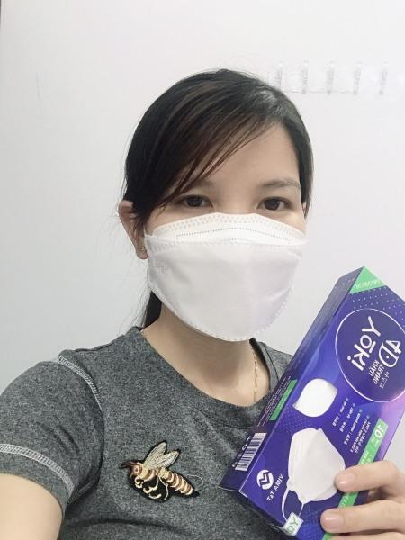 [Giá 1 cái 2.3k] Khẩu trang 4D YOKI kháng khuẩn 1 hộp 10 cái - màu trắng
