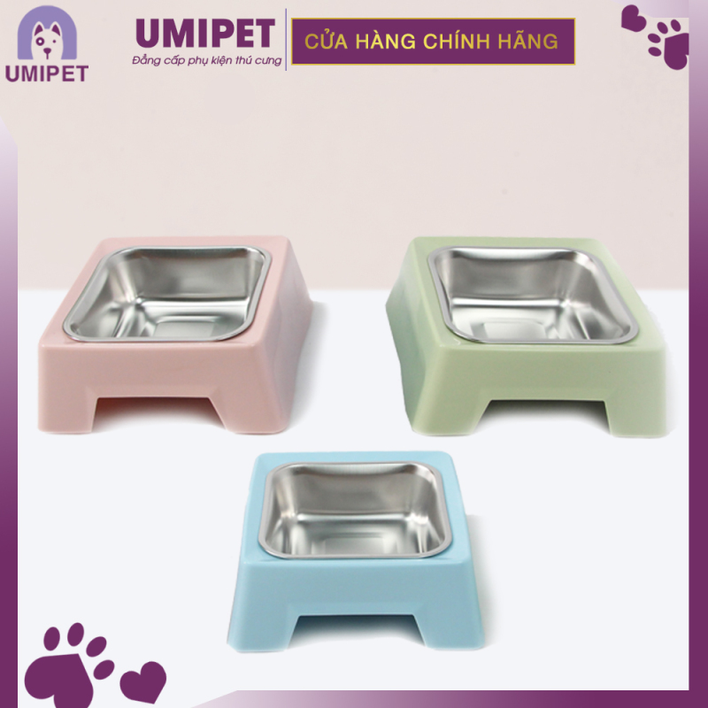 Bát vuông Inox đế có khe UMIPET - Bát vuông inox cao cấp cho thú cưng