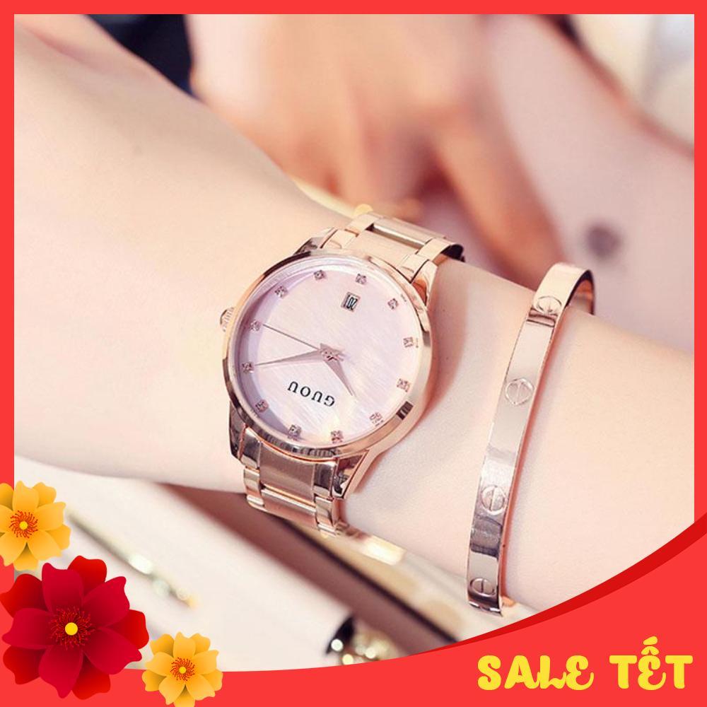Nơi bán iWATCH-Đồng hồ nữ GUOU mặt đính đá lịch ngày dây thép cao cấp sang trọng IW-G8186 (full box)