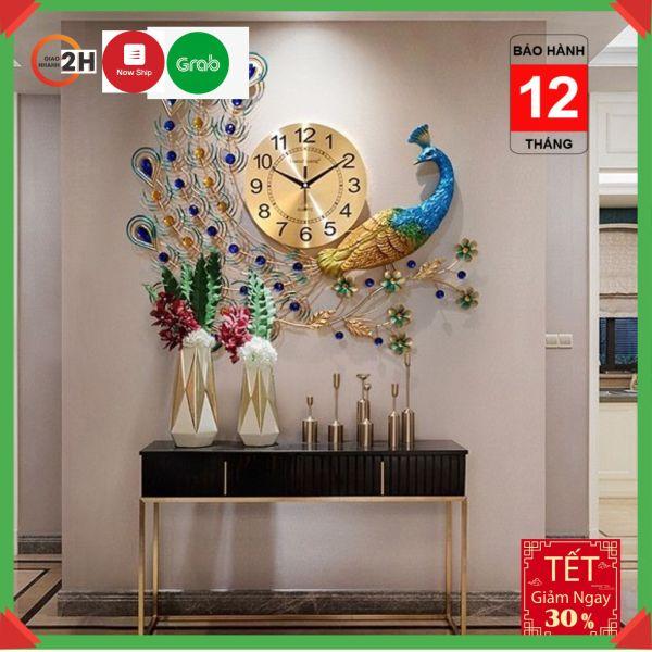 Nơi bán [GIÁ SIÊU SỐC] Đồng Hồ Treo Tường Nghệ Thuật 3D Chim Công Đậu Cành Mai Chính Hãng JJT - WM122