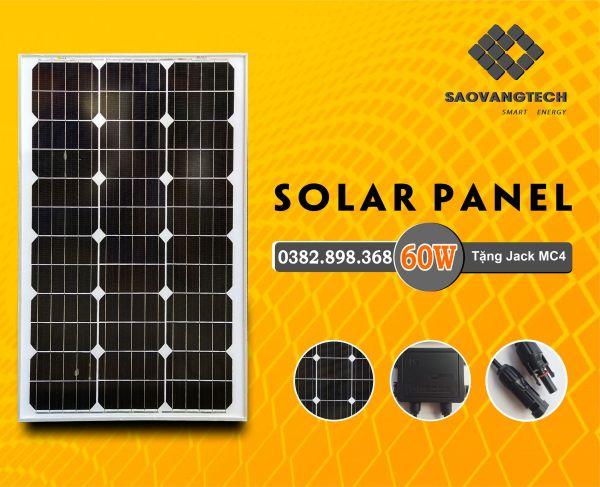 Tấm pin năng lượng mặt trời 60W MONO + Tặng Jack mc4