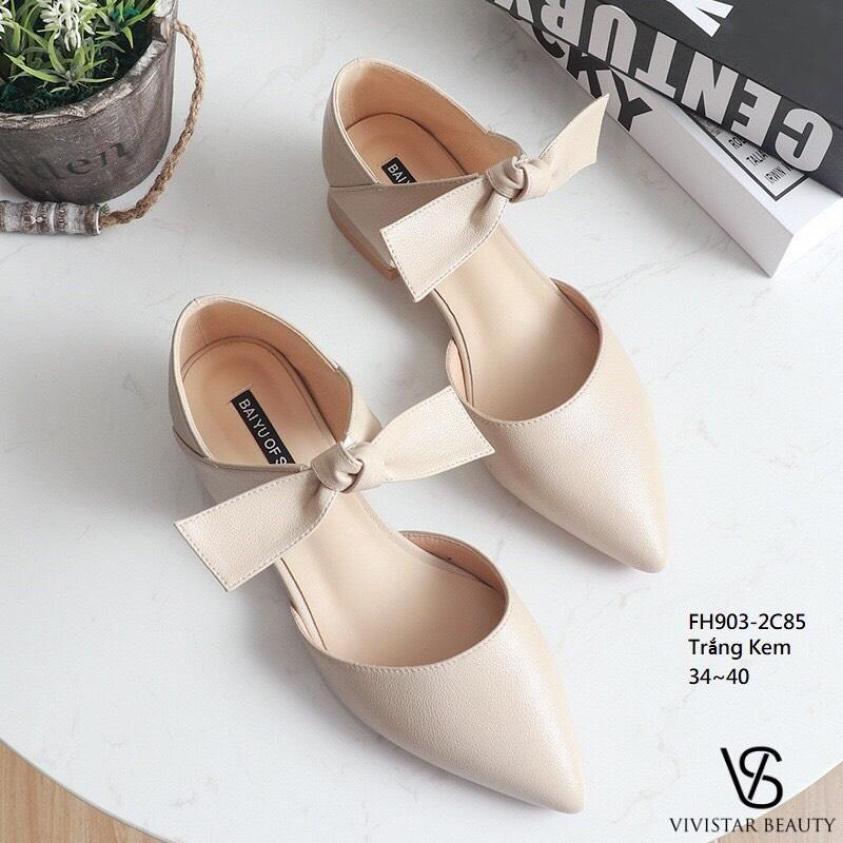 [Form rộng lùi 1 size] giày sục búp bê mũi nhọn da mềm thắt nơ điệu đà đế cao 2cm thiết kế thời trang dễ phối đồ giá rẻ