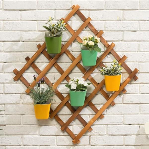khung gỗ trang trí treo tường ban công ngoài trời và tường trong nhà hình thoi kích thước 60 cmx60 cm