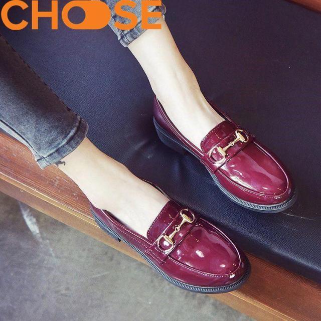 Giày Mọi Nữ Đen Đỏ Khóa Sang Chảnh Đế Độn 4.5cm 0405 giá rẻ