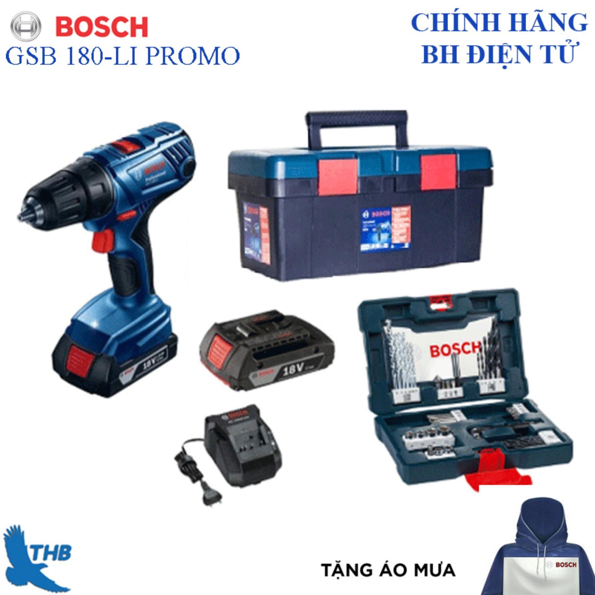 Máy khoan động lực dùng pin Bosch GSB 180-LI PROMO tặng áo mưa Bosch