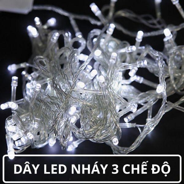 Dây đèn led nháy 3 chế độ trang trí màu Trắng-Dài 5m x 42 bóng đèn mã 26001