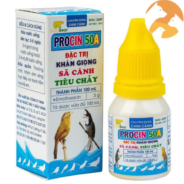 Combo 2 lọ PROCIN 50A [10 ml] Dùng cho chim cảnh khàn giọng, sã cánh, tiêu chảy
