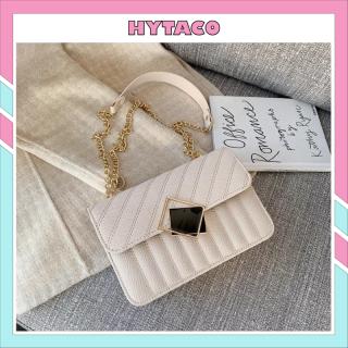 Túi xách nữ đẹp túi đeo chéo phong cách Hàn Quốc kiểu dáng mới lạ dây đeo da phối xích HYTACO thumbnail