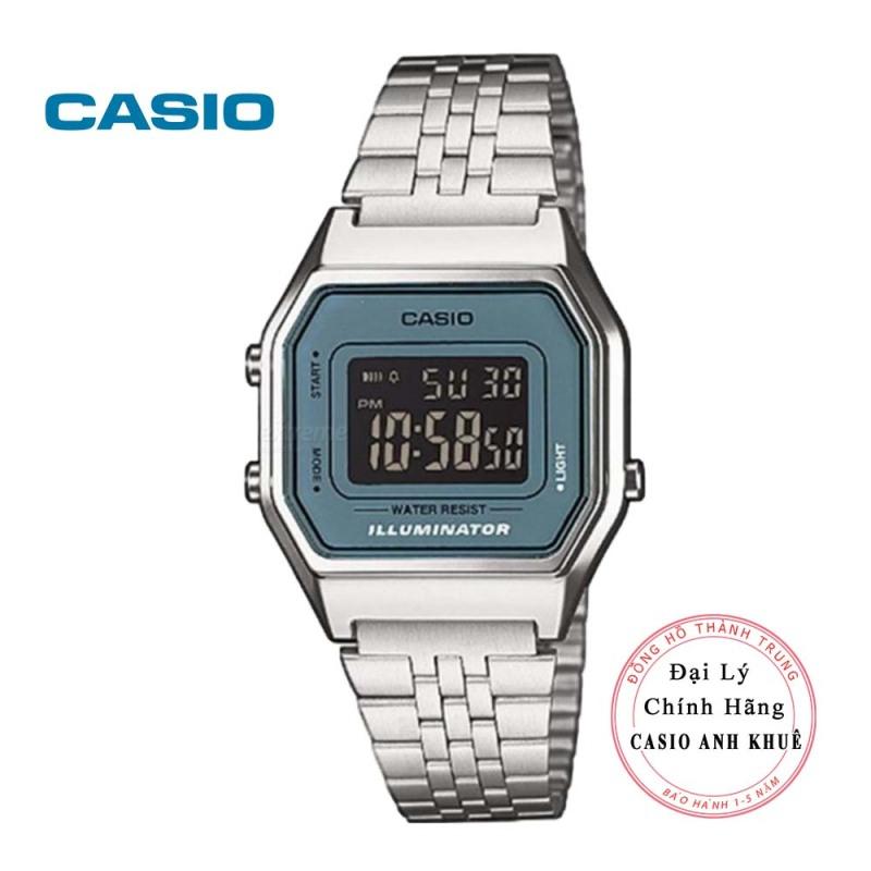 Đồng hồ điện tử nữ Casio LA680WA-2BDF dây kim loại