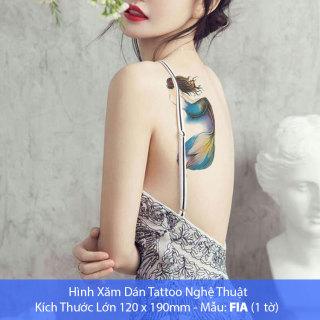 Hình Xăm Dán Tattoo Cao Cấp Hình Người Cá Tờ Lớn 12x19cm - Mẫu FIA thumbnail