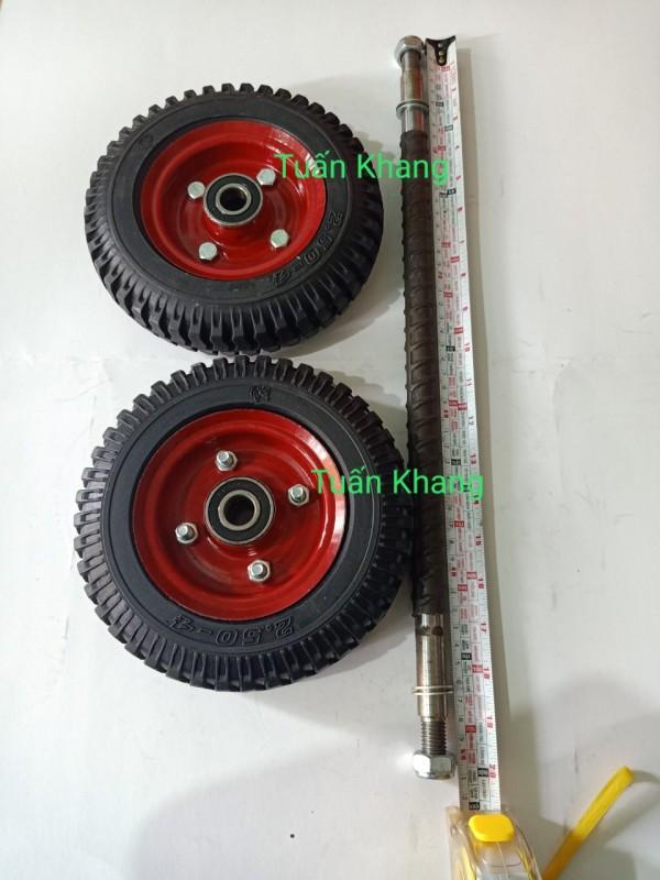 Combo 2 bánh xe và trục bánh xe 50cm 17ly(17mm)