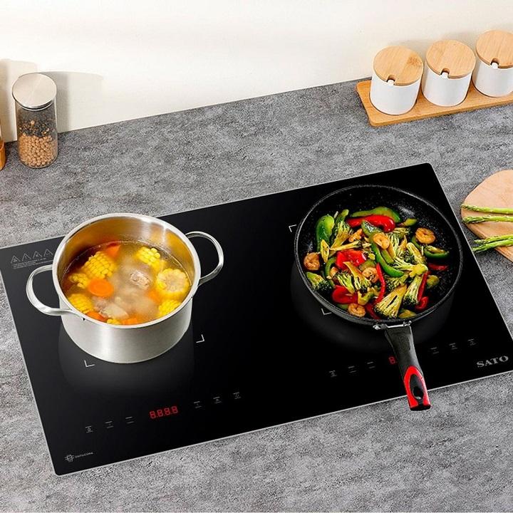 [BẢO HÀNH 3 NĂM] Bếp điện từ đôi thông minh SATO SIH264 N1.2 Mặt kính thiết kế sang trọng, chịu nhiệt lên tới 700°C, chống trầy xước, chống bám dầu mỡ, vệ sinh dễ dàng