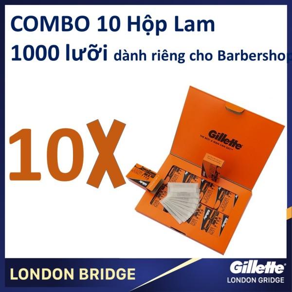 Combo 10 hộp lưỡi lam Gillette London Bridge (Cam) siêu béng dành cho Barbershop 100 cái/hộpX10 cao cấp