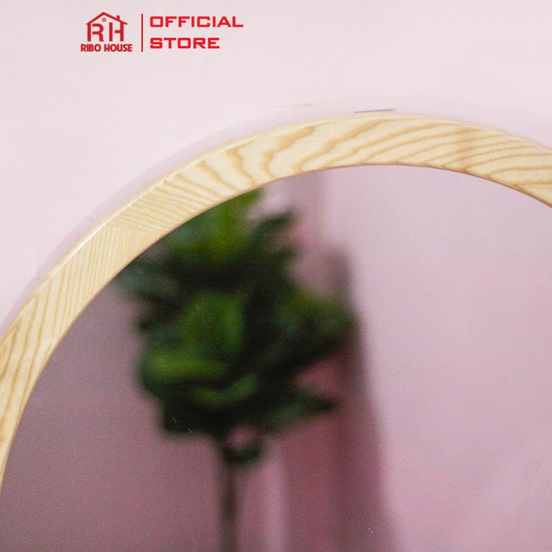 Gương soi treo tường gỗ Sồi Cao Cấp RIBO HOUSE size D50 gương tròn có dây treo RIBO106