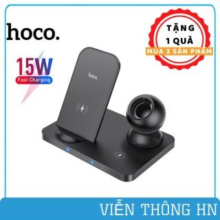 Đế sạc nhanh không dây 3 in 1 Hoco CR33 - đế sạc 15w cho ip apple watch airpods - vienthonghn thumbnail