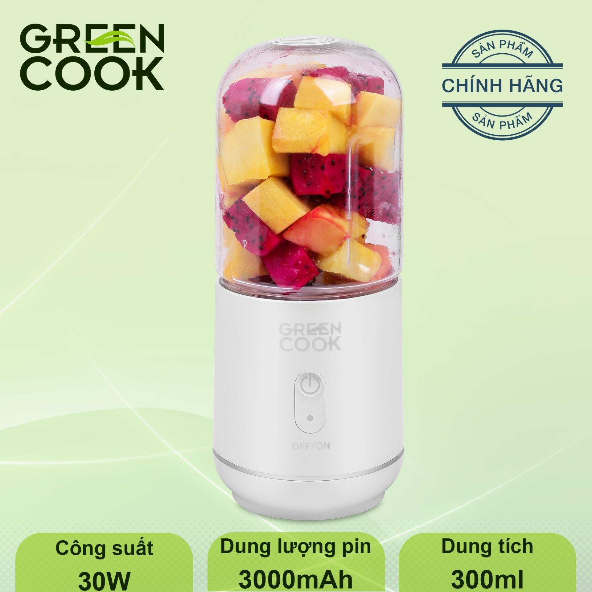 Máy xay sinh tố (xay được đá) cầm tay pin sạc Green Cook 300ml,Công suất 30W - Hàng chính hãng