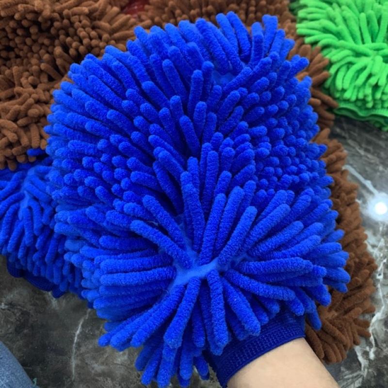 Găng tay rửa xe lau chùi ô tô loại dày dặn 2 mặt bông - găng tay san hô