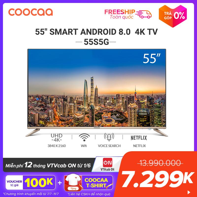 Voucher Khuyến Mãi SMART TV 4K UHD Coocaa 55 Inch - Android TV- Wifi - Viền Mỏng - Model 55S5G (Vàng) - Tivi Giá Rẻ Chân Viền Kim Loại