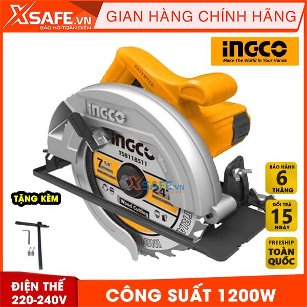 Máy Cưa đĩa tròn INGCO CS18518 kèm theo 1 lưỡi cắt 185mm và 1 bộ than. Máy cưa đĩa tròn công suất 1200W, tốc độ không tải 5000rpm, đường kính lưỡi cưa 185x20mm, bảo hành chính hãng 6 tháng - Sản phẩm chính hãng XSAFE