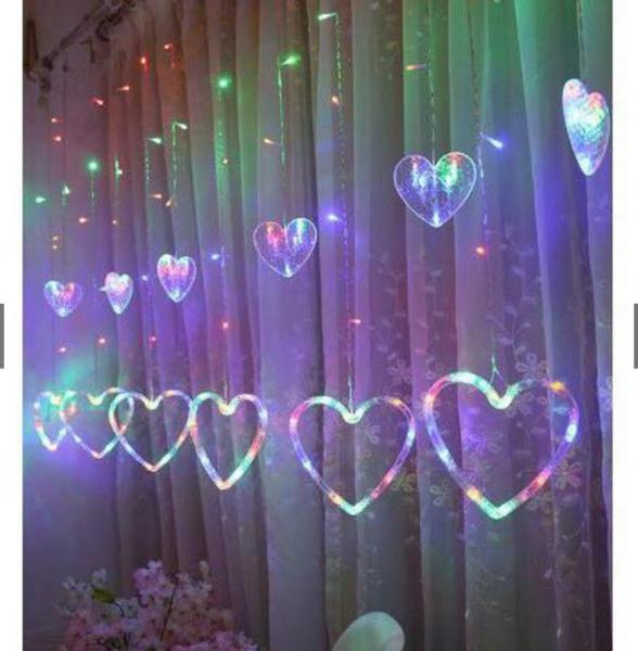 Đèn LED dây trang trí hình trái tim. Đèn led trang trí phòng khách, phòng ngủ. Đèn nháy thả mành hình trái tim mẫu mới nhất