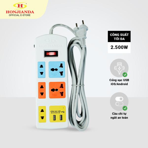 Ổ cắm điện đa năng có USB Honjianda 0436B 2.500W dây 3 mét an toàn chống quá tải